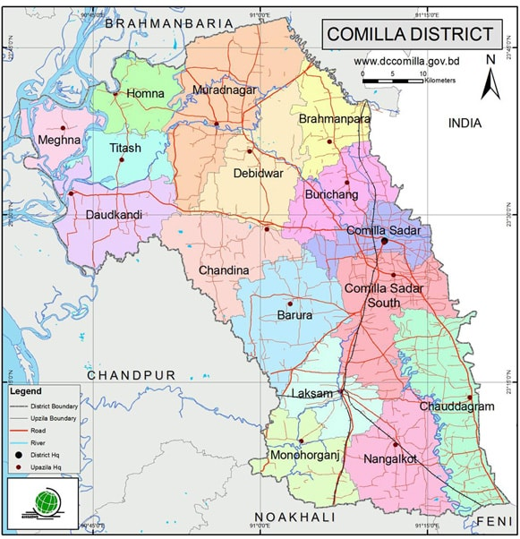 Map of Comilla District