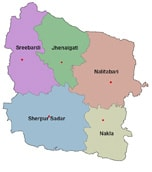 Map of Sherpur District