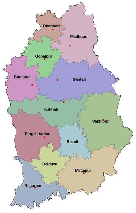 Map of Tangail District